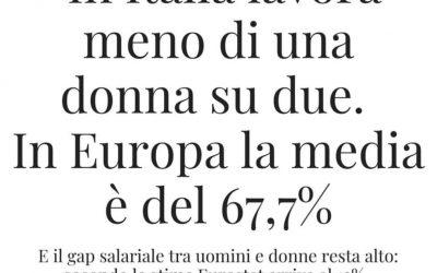 """""""In Italia lavora meno di una donna su due. In Europa la media è del 67,7%""""  Fonte: www.corriere.it"""